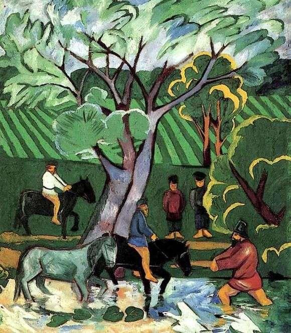 Описание картины Натальи Гончаровой «Купание лошадей»