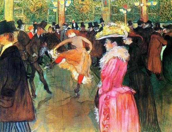 Описание картины Анри Тулуз Лотрека «Танец в Мулен Руж»