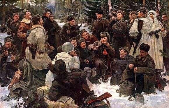 Описание картины Юрия Непринцева «Отдых после боя»