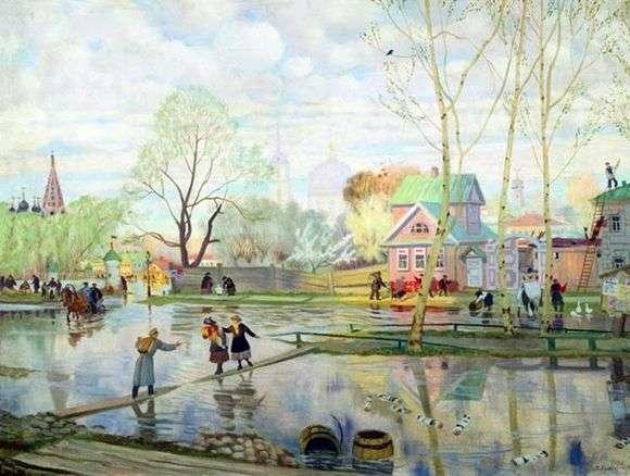 Описание картины Бориса Кустодиева «Весна»