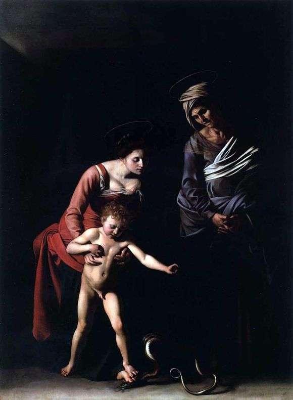 Описание картины Микеланджело Меризи да Караваджо «Мадонна со змеей»