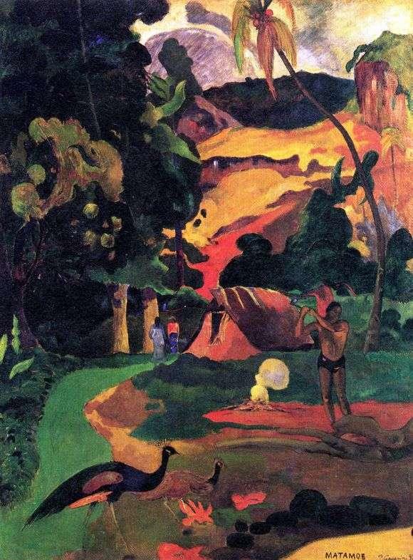 Описание картины Поля Гогена «Пейзаж с павлинами»