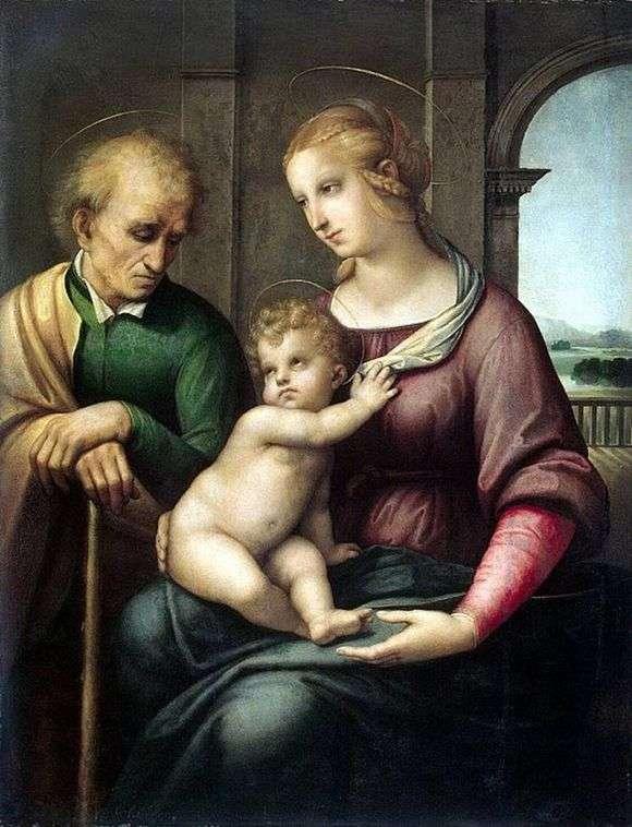 Описание картины Рафаэля Санти «Святое семейство» (Мадонна с безбородым Иосифом)