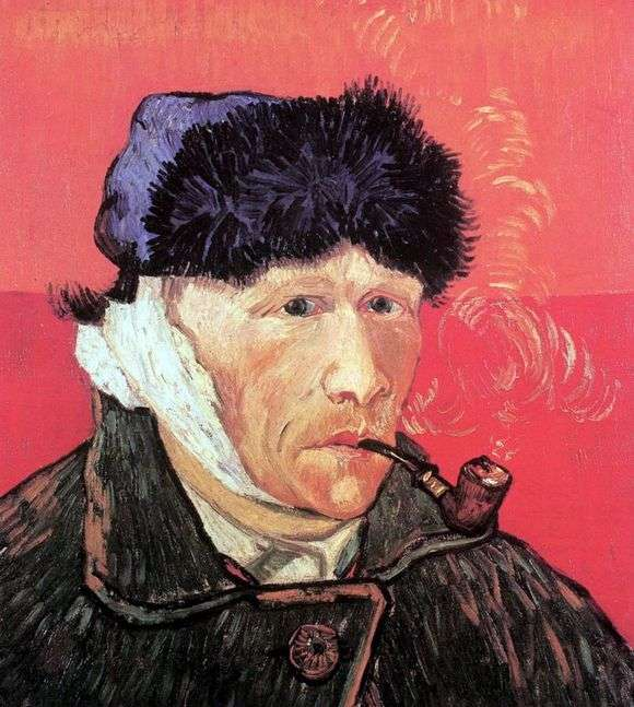 Описание картины Винсента Ван Гога «Автопортрет с отрезанным ухом и трубкой»