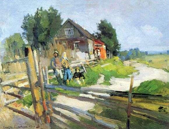Описание картины Константина Коровина «Пейзаж с изгородью»