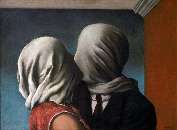 Описание картины Рене Магритта «Влюбленные» (Любовники)