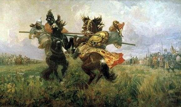 Описание картины Михаила Авилова «Поединок Пересвета с Челубеем»