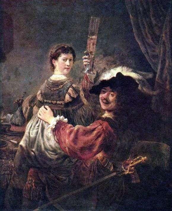 Описание картины Рембрандта Харменса ван Рейна «Автопортрет с Саскией»