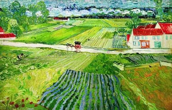 Описание картины Винсента Ван Гога «Пейзаж в Овере после дождя» (Пейзаж с повозкой и поездом)