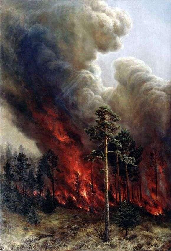 Описание картины Алексея Денисова Уральского «Лесной пожар»