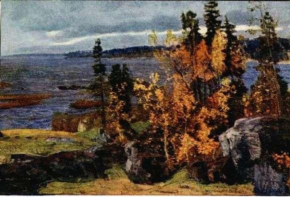 Описание картины Василия Мешкова «Золотая осень в Карелии»