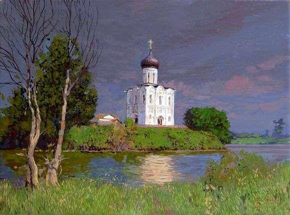 Описание картины Сергея Баулина «Храм покрова на Нерли»