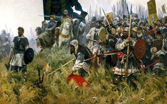 Описание картины Александра Бубнова «Утро на Куликовом поле»