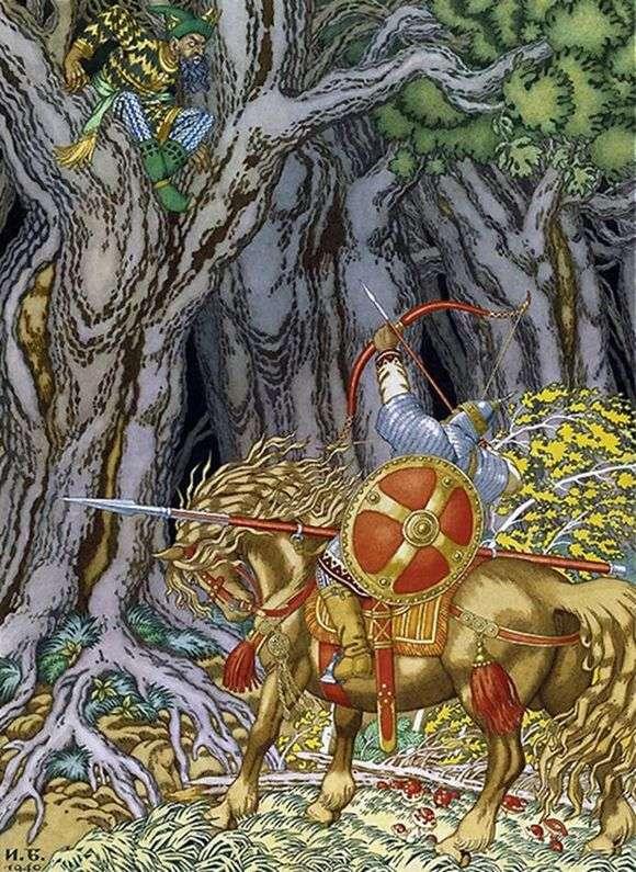 Иллюстрация к сказке «Илья Муромец и Соловей разбойник» работы Ивана Билибина