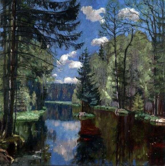 Описание картины Станислава Жуковского «Лесное озеро»
