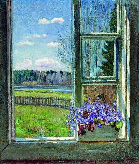 Описание картины Станислава Жуковского «Окно с фиалками»