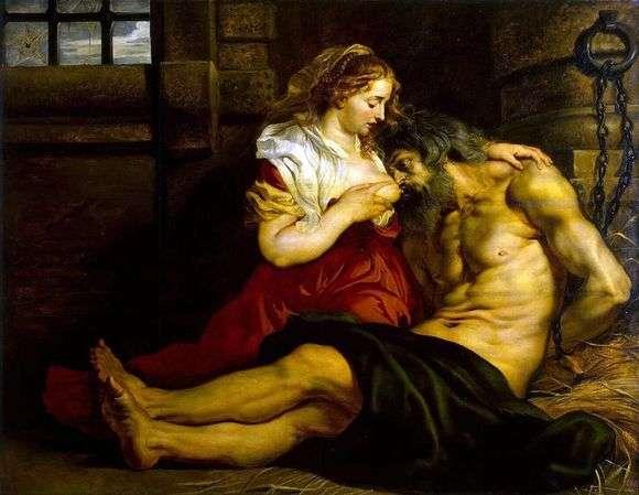 Описание картины Питера Рубенса «Отцелюбие римлянки»