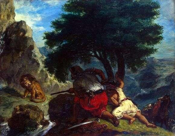 Описание картины Эжена Делакруа «Охота на львов в Марокко»