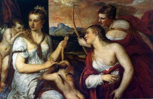 Описание картины Тициана «Венера завязывающая глаза Амуру»