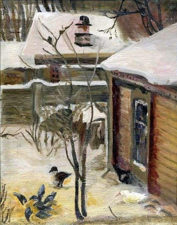 Описание картины Алексея Саврасова «Дворик. Зима»