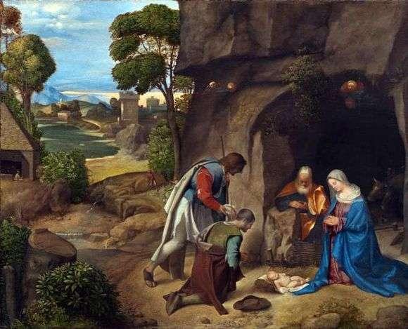 Описание картины Джорджоне «Поклонение пастухов»