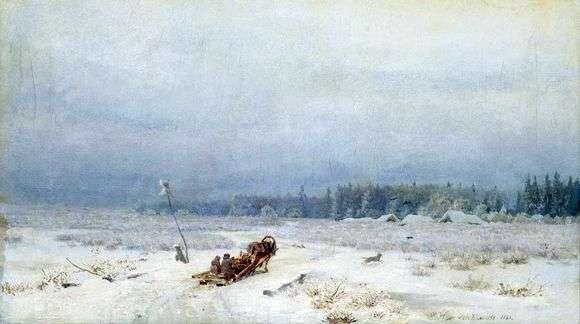 Описание картины Льва Львовича Каменева «Зимняя дорога (1866)»