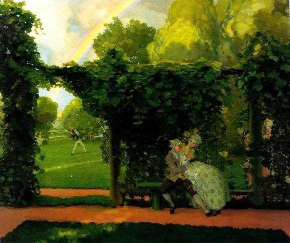Описание картины Констатина Андреевича Сомова «Осмеянный поцелуй (1908)»