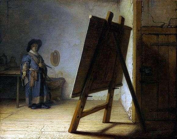 Описание картины Рембрандта Харменса Ван Рейна «Художник в мастерской (1628)»