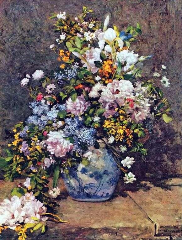 Описание картины Пьера Огюста Ренуара «Натюрморт с большой цветочной вазой»