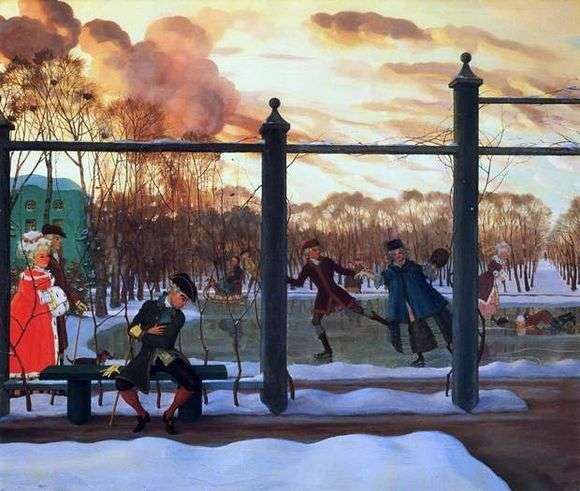 Описание картины Константина Сомова «Зима. Каток»