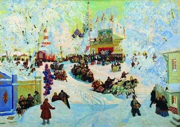 Описание картины Бориса Кустодиева «Зима. Масленичное гулянье»