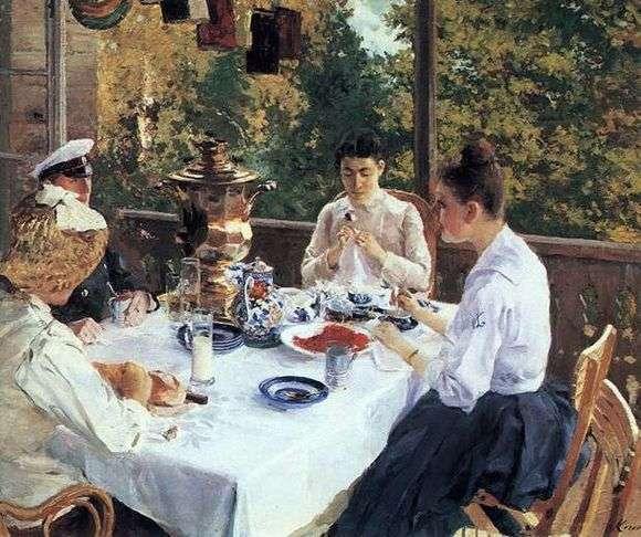 Описание картины Константина Коровина «За чайным столом»