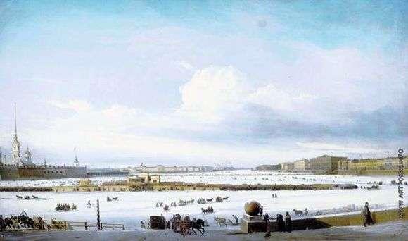 Описание картины Алексея Боголюбова «Катание на Неве»