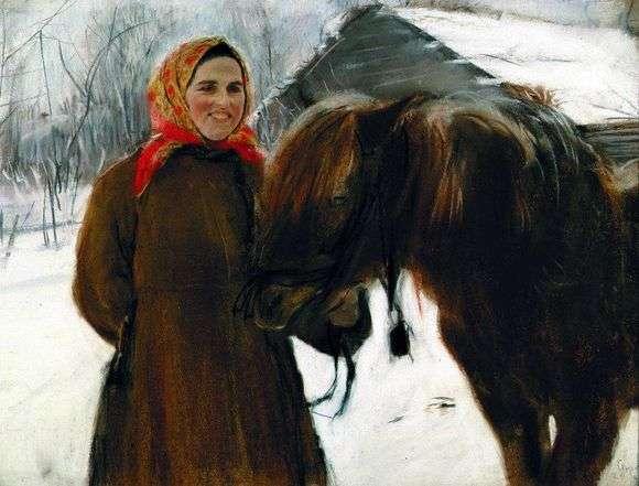 Описание картины Валентина Серова «Баба с лошадью»