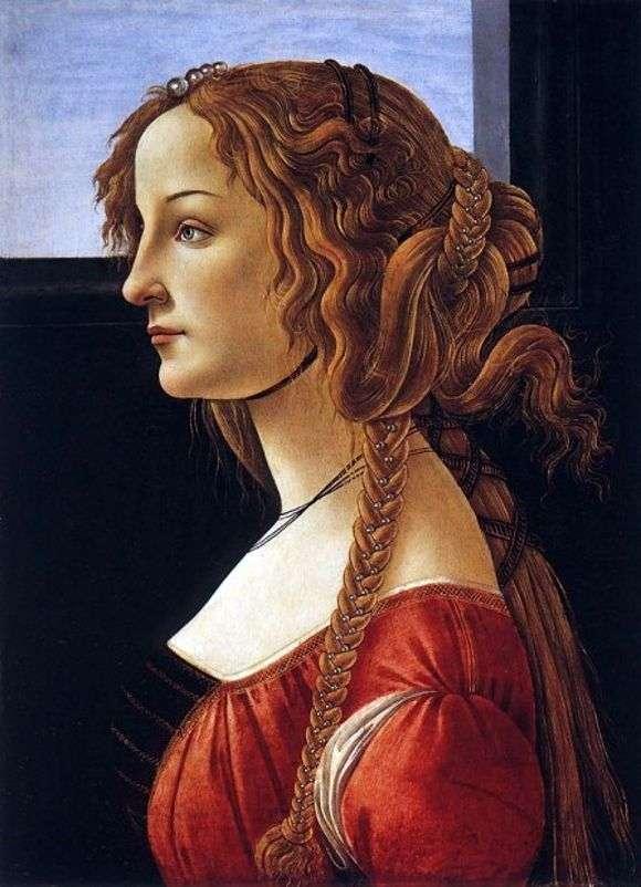Описание картины Сандро Боттичелли «Портрет молодой женщины»