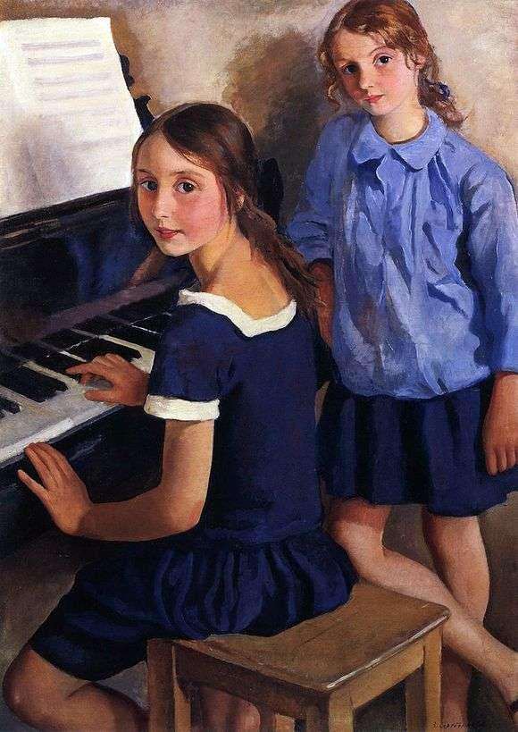 Описание картины Зинаиды Серебряковой «Девочки у рояля»
