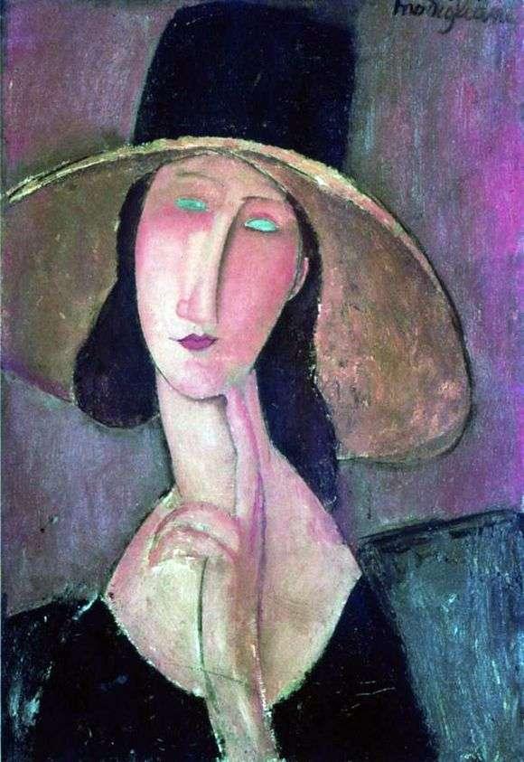 Описание картины Амедео Модильяни «Портрет Жанны Эбютерн в большой шляпе»