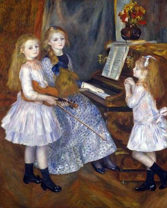 Описание картины Пьера Огюста Ренуара «Дочери Катулла Мендеса за пианино»