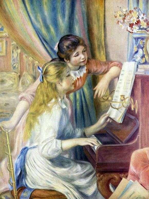 Описание картины Пьера Огюста Ренуара «Девушки за фортепиано»