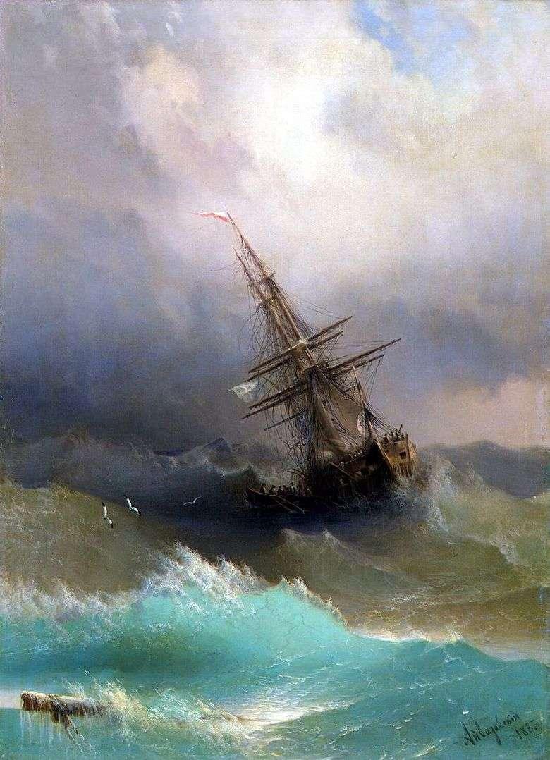 Описание картины Ивана Айвазовского «Корабль среди бурного моря»