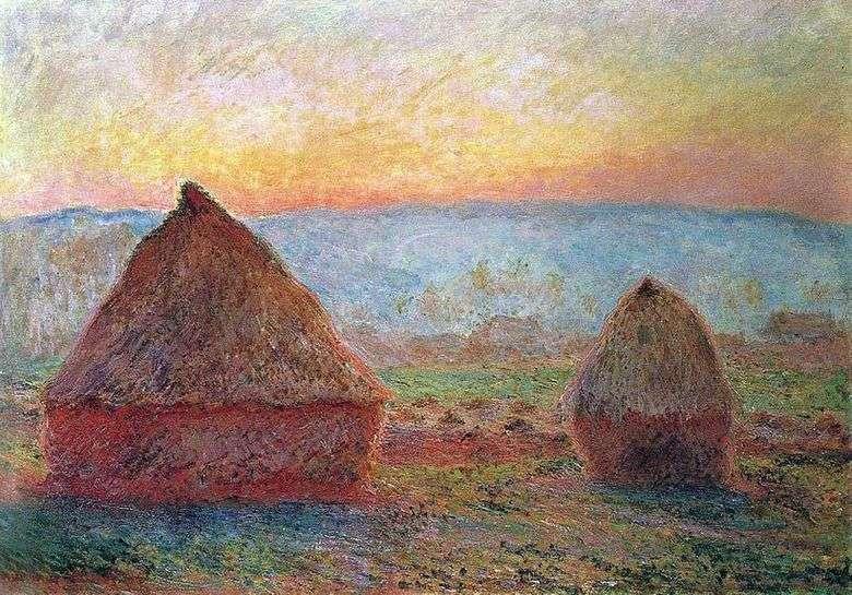 Описание картины Клода Моне «Стога сена в Живерни. Закат»