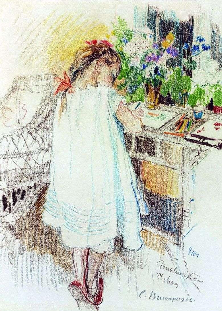 Описание картины Сергея Виноградова «Рисует»