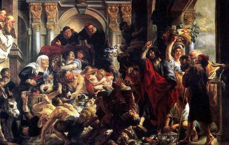 Описание картины Рембрандта «Изгнание торгующих из храма»