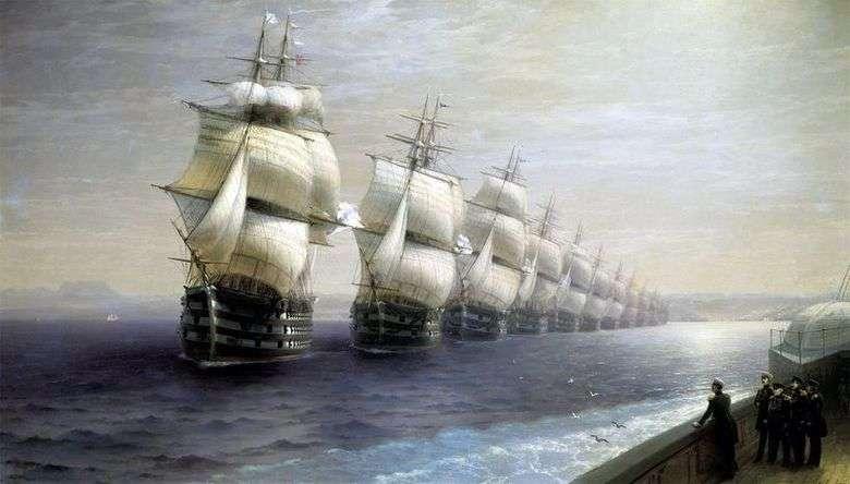 Описание картины Ивана Айвазовского «Смотр Черноморского флота»