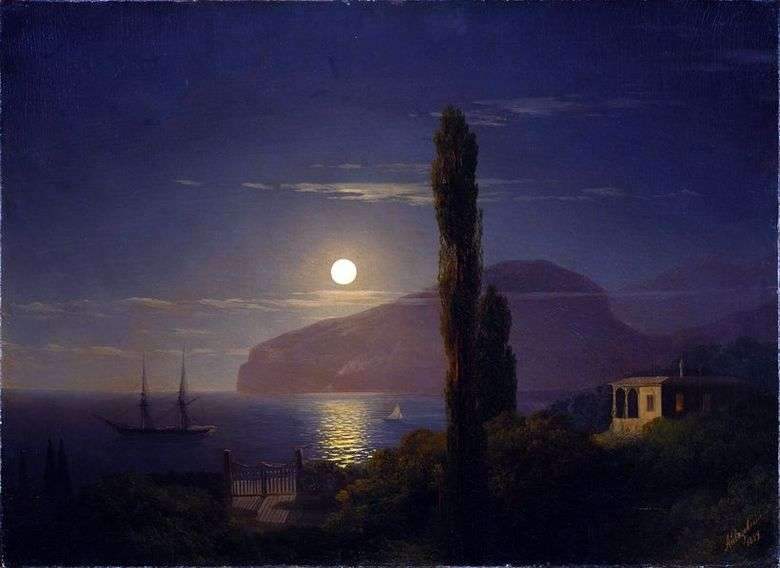 Описание картины Ивана Айвазовского «Лунная ночь в Крыму»