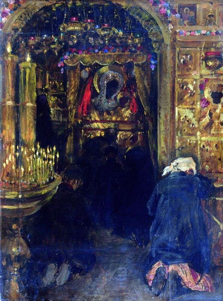 Описание картины Сергея Виноградова «В церкви»