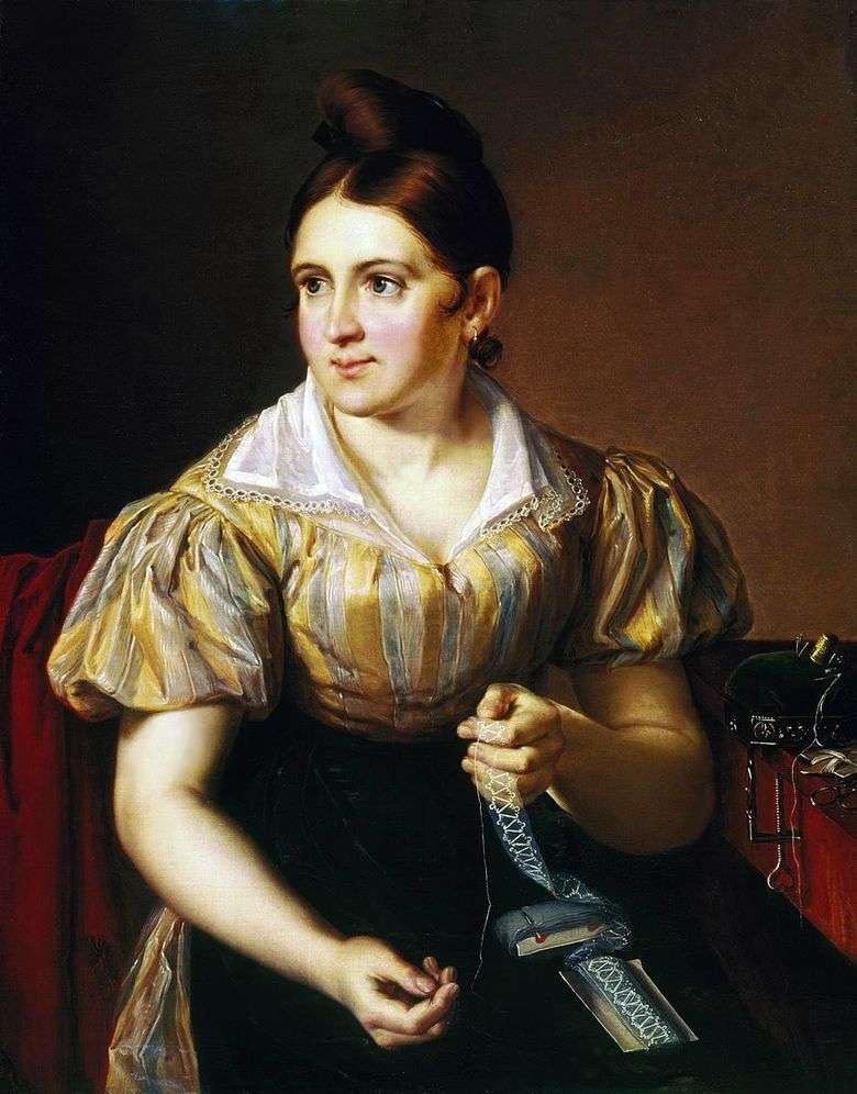 Описание картины Василия Тропинина «Дама за прошивками»