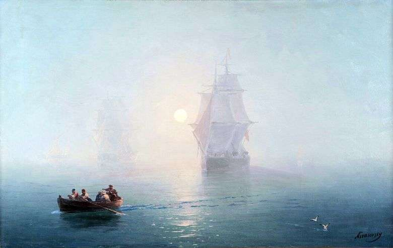 Описание картины Ивана Айвазовского «Военный корабль»
