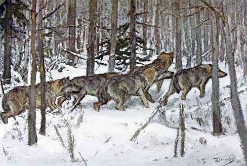 Описание картины Алексея Степанова «Волки»