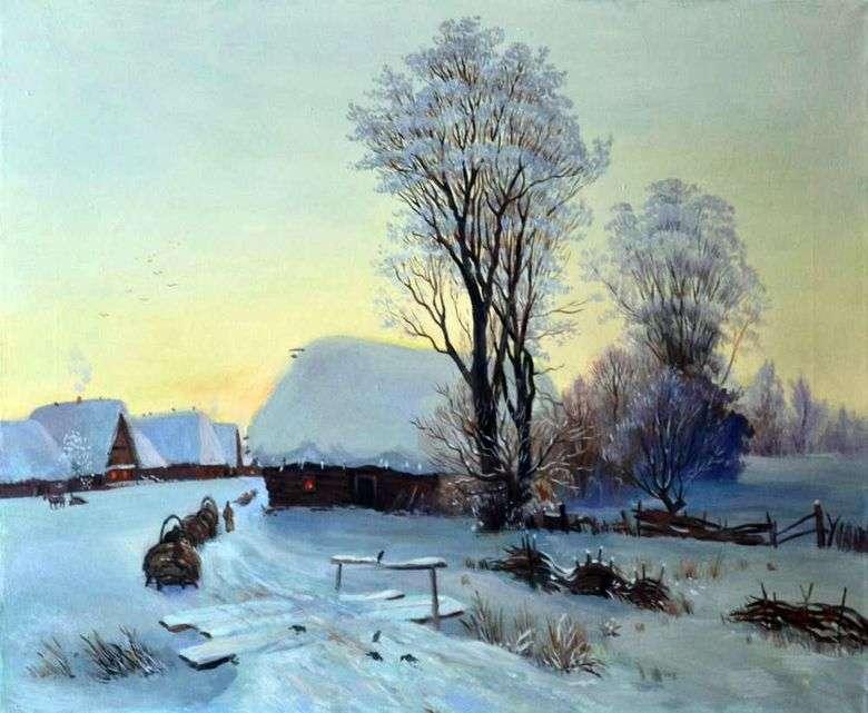 Описание картины Гавриила Кондратенко «Зимний вечер»